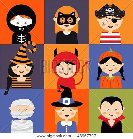 Happy Halloween. Set of cute cartoon children in colorful halloween costumes.vector illustration