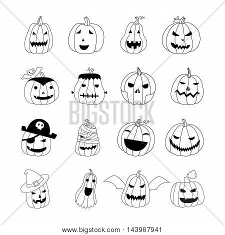 Vector doodle halloween pumpkins. Hand drawn style design elements. Set of spooky horror images. Pumpkins with Jack-o-lantern face Illustration. Emotion Variation.