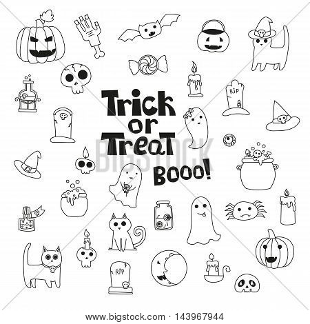 Cute trick or treat halloween collection with cats pumpkin spider gravestone boiler poison. Hand drawn line style. Vector doodles illustrations.