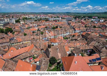 Aerial view from Saint Mary Lutheran Cathedral in Sibiu city in Romania