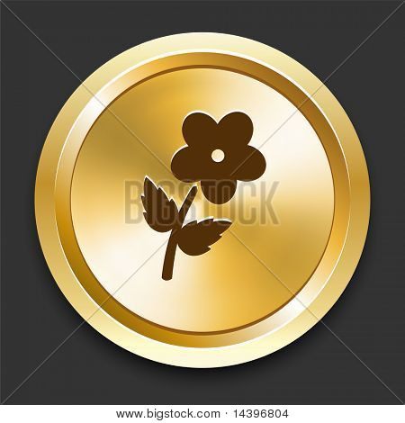Flower on Golden Internet Button Original Illustration
