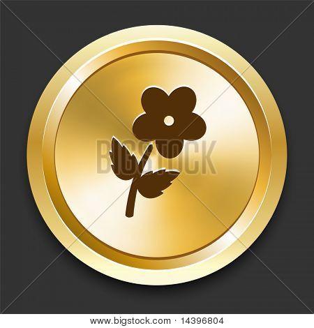 Flower on Golden Internet Button Original Illustration