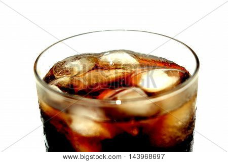 carbonation drink in a glass glass with ice