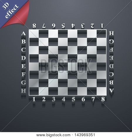 Modern Chess Board Icon Symbol. 3D Style. Trendy, Modern Design With Space For Your Text Vector