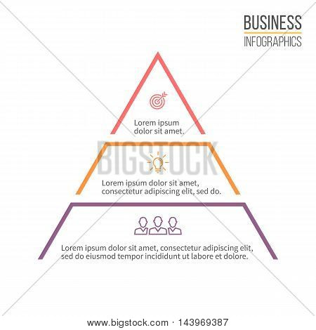 Pyramid, triangle with 3 steps, levels. Vector design element.