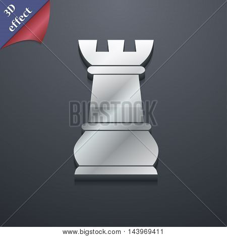 Chess Rook Icon Symbol. 3D Style. Trendy, Modern Design With Space For Your Text Vector