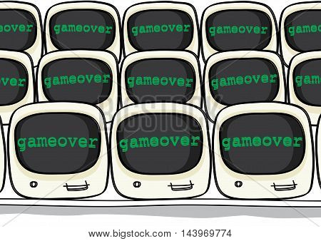 game over message on computer monitor vector illustration