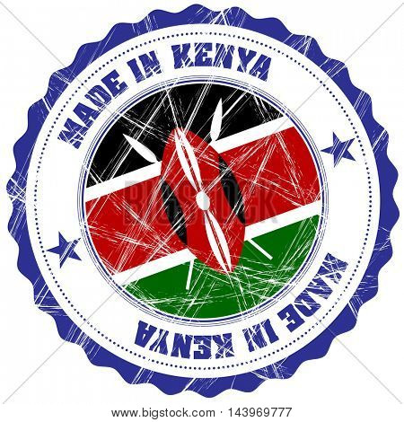 Made in Kenya grunge rubber stamp with flag