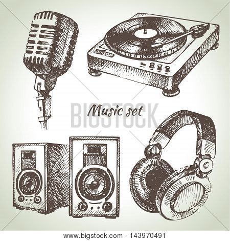 Music set. Hand drawn illustrations of Dj icons