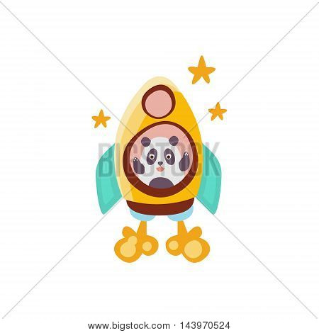 Panda Riding A Rocket Ship Stylized Fantastic Illustration Childish Simplified Funny Flat Drawing On White Background