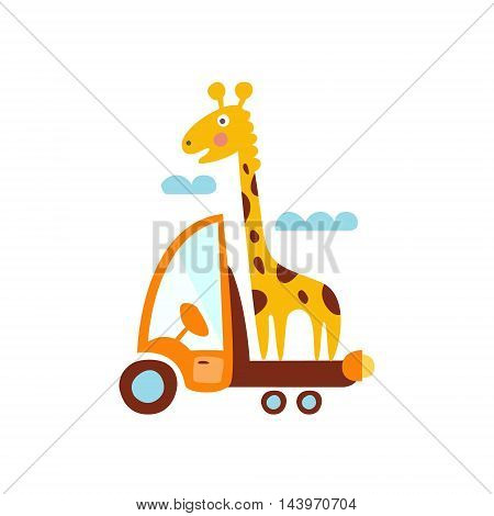 Giraffe On Trailer Of The Truck Stylized Fantastic Illustration Childish Simplified Funny Flat Drawing On White Background