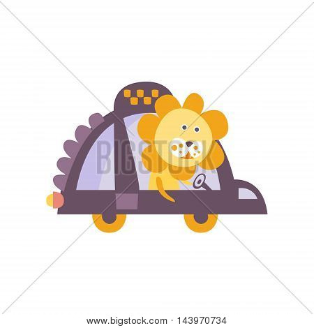 Lion Taxi Driver Stylized Fantastic Illustration Childish Simplified Funny Flat Drawing On White Background
