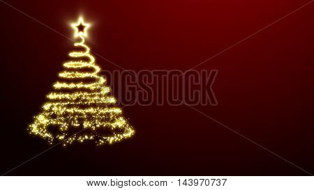 Golden lights Christmas tree with a star treetopper on a red background.