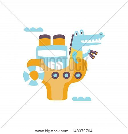 Crocodile On A Ship With Binoculars Stylized Fantastic Illustration Childish Simplified Funny Flat Drawing On White Background