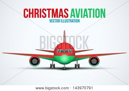 Front view of Civil Aircraft in Christmas style standing on the chassis. Public or private plane. For business and holiday travel design. Vector Illustration isolated on background.