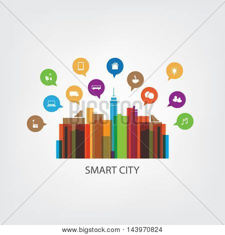 Colorful Smart City Design Concept with Icons