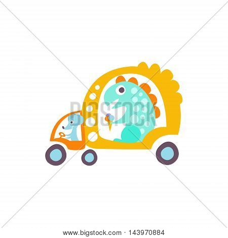 Mause Drives Dinosaur In Rat-tat Taxi Stylized Fantastic Illustration Childish Simplified Funny Flat Drawing On White Background
