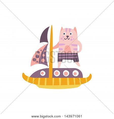 Cat On A Sailing Boat Stylized Fantastic Illustration Childish Simplified Funny Flat Drawing On White Background
