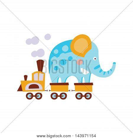 Elephant On Train Wagon Stylized Fantastic Illustration Childish Simplified Funny Flat Drawing On White Background
