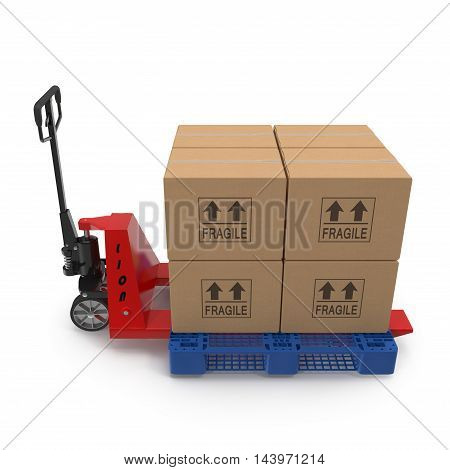 Fork pallet truck stacker with stack of boxes isolated on white background 3D Illustration