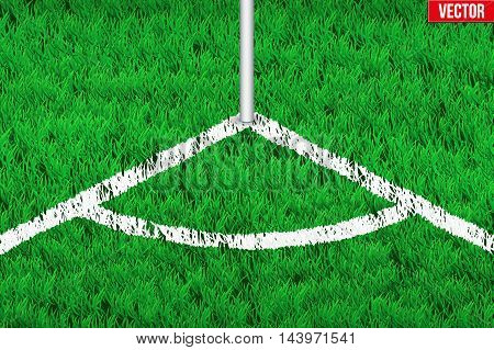 White angular lines on grass field. Closeup For various sport background. Editable Vector illustration Isolated on background.