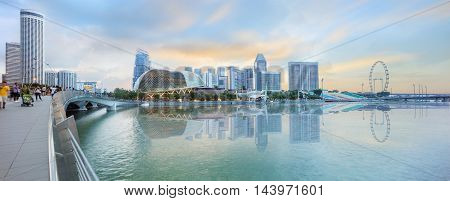 Singapore central quay evening panorama from Jubilee bridge