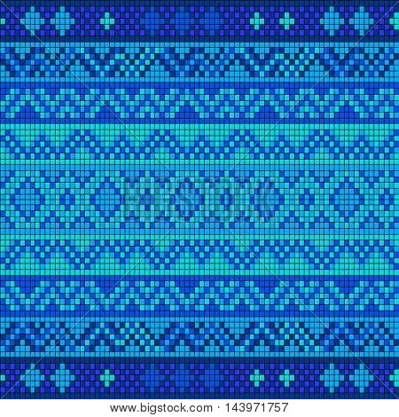 Ornamental seamless pattern. Ethnic ornament. Fabric pattern with a blue shade.