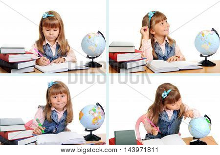 Little Girl with Book and Globe over white. Education Concept Set Photos. Back to School.