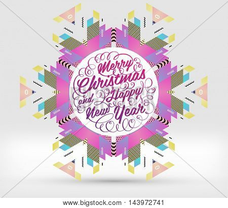 Christmas and New Year 2017 abstract design with geometric pattern for background. Vector