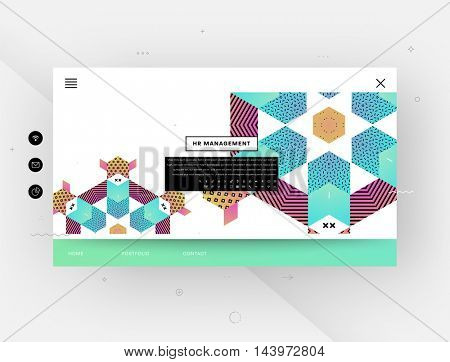 Website template with abstract geometric pattern design, vector