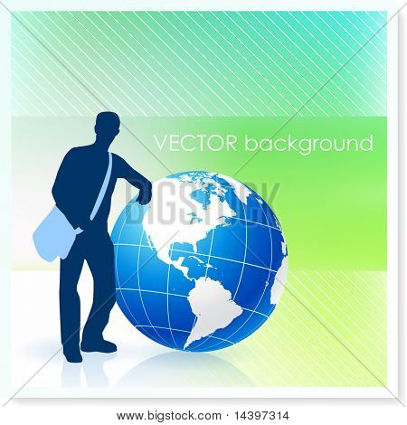 Young Traveler with Globe on Vector Background Original Illustration