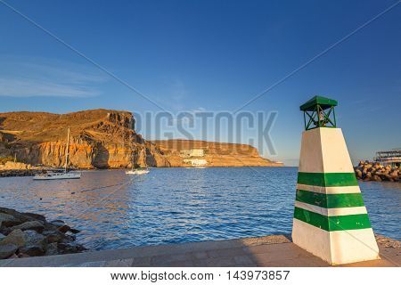 Coastline of Gran Canaria island at sunset, Spain