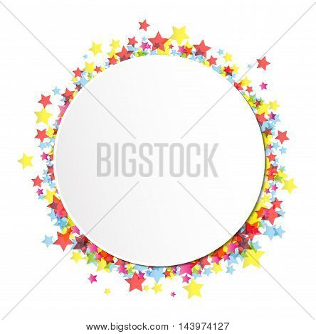 label on star confetti on the white background