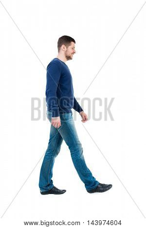 Back view of going  handsome man. walking young guy . Rear view people collection.  backside view of person.  Isolated over white background. bearded man in blue pullover thoughtfully misses.