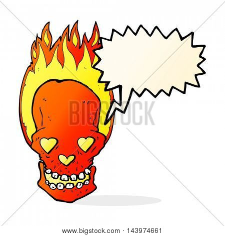 cartoon flaming skull with love heart eyes with speech bubble