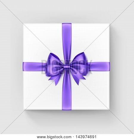 Vector White Square Gift Box with Shiny Burgundy Light Violet Purple Satin Bow and Ribbon Top View Close up Isolated on White Background