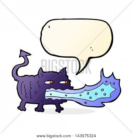 cartoon fire breathing imp with speech bubble