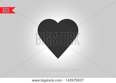 Black Heart Icon. Vector Illustration. Flat Design Element.