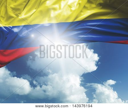 Colombia flag on a beautiful day