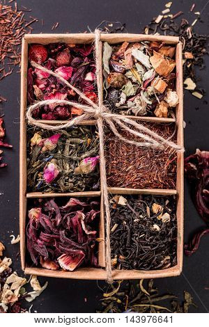 Assortment Of Dry Tea On A Wooden Table,healthy Drink