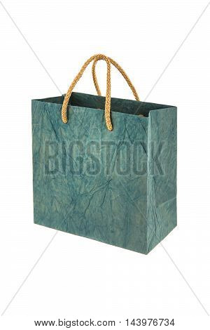 green gift bag isolated on a white background