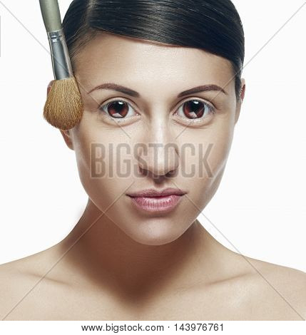 Big Eyes. Beauty Woman Face Portrait. Beautiful Perfect Fresh Clean Skin. Youth And Skin Care Concep