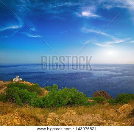 Fiolent Crimea - sea landscape. Sea view - Mountains surround the bay. Pushkin's memorial