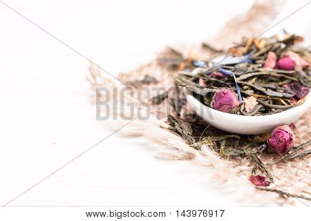 Green Tea, Dried Leaves, On Wooden Background