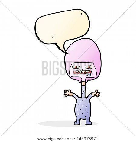 cartoon space alien with speech bubble
