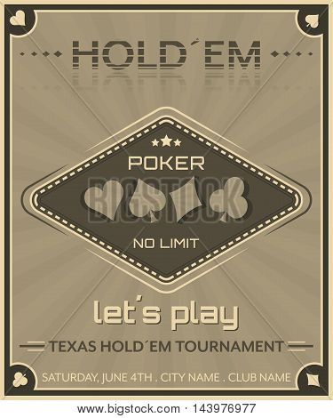 Poker Background In Retro Style.