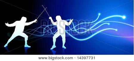Fencer on Light Spark Abstract Background Original Illustration