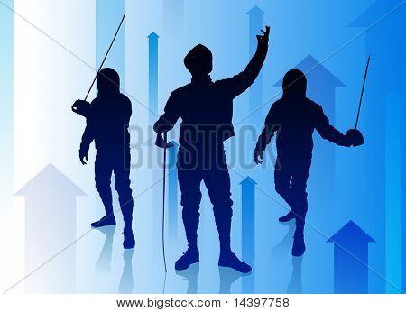 Fencer on Abstract Arrow Background Original Illustration