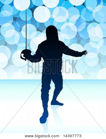 Fencer on Blue Lens Flare Background Original Illustration