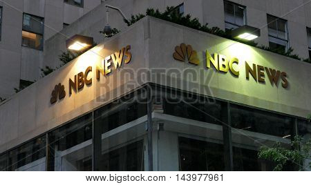 New York USA. 23rd August 2016. The world headquarters for NBC News the Saturday Night Live studios and the Rainbow Room.